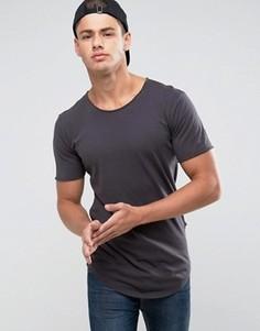 Длинная футболка с необработанным низом и глубоким вырезом Only & Sons - Темно-синий
