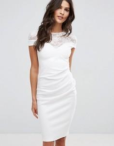 Платье миди с кружевной вставкой City Goddess - Белый
