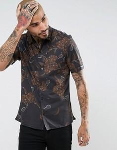 Рубашка классического кроя с короткими рукавами и цветочным принтом AllSaints - Черный