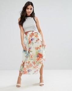 Юбка миди с цветочным принтом Orion Sarah - Кремовый