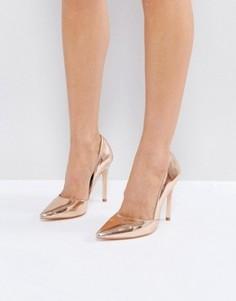 Туфли-лодочки цвета металлик с острым носком London Rebel - Золотой