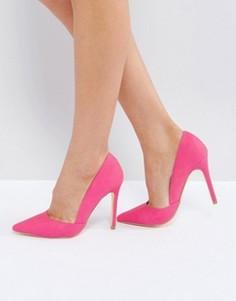 Туфли-лодочки с острым носком и тисненым узором под змеиную кожу London Rebel - Розовый