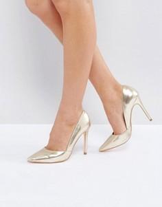 Туфли-лодочки цвета металлик с острым носком London Rebel - Медный