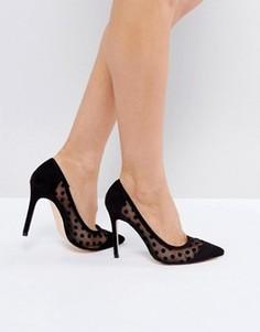 Туфли-лодочки с острым носком в горошек London Rebel - Черный