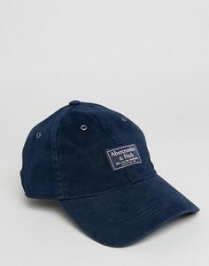 Темно-синяя саржевая кепка с логотипом-накладкой Abercrombie & Fitch - Темно-синий