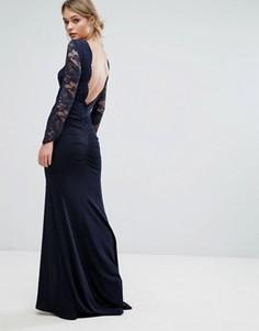 Платье макси с кружевом и юбкой годе TFNC - Темно-синий