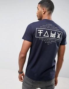 Футболка с принтом на спине Friend or Faux Limitless - Темно-синий