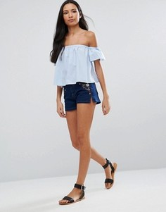Джинсовые шорты с вышивкой Brave Soul Tommi - Синий