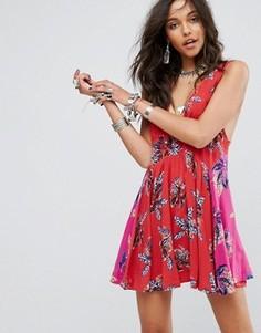 Платье мини с цветочным принтом Free People - Красный