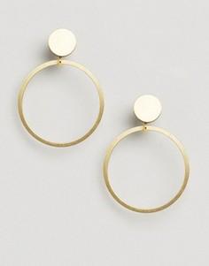 Серьги‑гвоздики с кольцами Wolf and Moon - Золотой