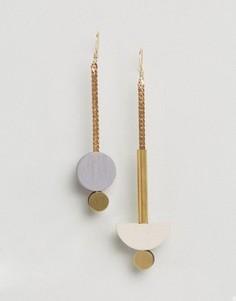Серьги-подвески Wolf and Moon Luna - Золотой