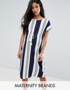 Mamalicious Striped Shift Dress With Drawstring Detail - Мульти Mama.Licious