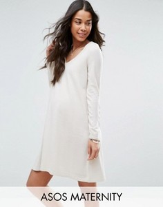 Трикотажное свободное платье с v-образным вырезом ASOS Maternity - Бежевый