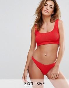 Купальник-бикини из жатой ткани Hunza G For ASOS - Красный