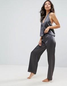 Атласный топ-халтер и широкие брюки для сна ASOS - Серый