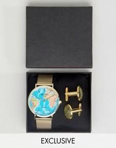 Подарочный набор из часов на кожаном ремешке и запонок Reclaimed Vintage - Коричневый