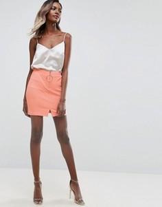 Фактурная мини-юбка с молнией ASOS - Оранжевый