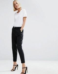 Льняные брюки-сигареты с ремнем ASOS - Черный