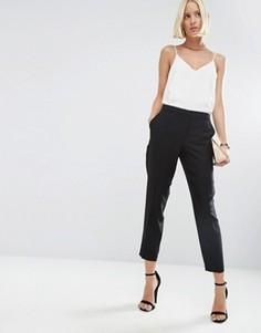 Укороченные креповые брюки-сигареты ASOS - Черный