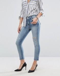 Укороченные джинсы с прорехами AGOLDE Sophie - Синий