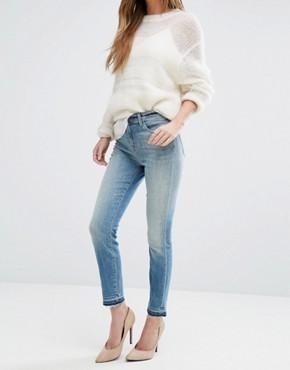 Укороченные джинсы с завышенной талией J Brand Alana - Синий