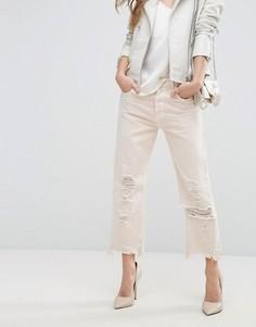 Прямые укороченные джинсы с завышенной талией и необработанным краем J Brand Ivy - Розовый