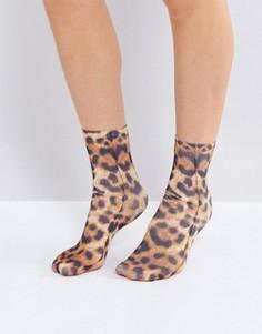 Носки с леопардовым принтом Monki - Коричневый