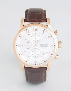 Часы с хронографом и коричневым ремешком BOSS 1512519 - Коричневый