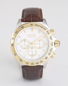 Часы с хронографом и коричневым кожаным ремешком BOSS 1513174 - Коричневый