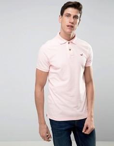 Поло из пике розового цвета узкого кроя с вышитым логотипом Hollister - Бежевый