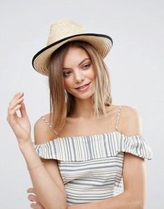 Мягкая соломенная шляпа с подвернутым краем ASOS - Коричневый