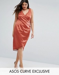 Атласное платье с запахом и кружевной вставкой ASOS CURVE - Красный