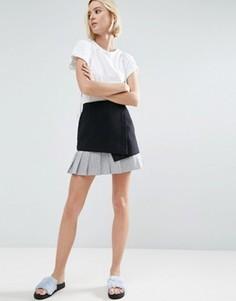 Мини-юбка с контрастным подолом в полоску ASOS - Черный