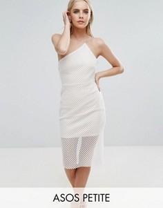 Асимметричное облегающее платье с сетчатой отделкой ASOS PETITE - Белый