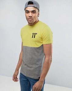 Желтая футболка с логотипом и вставкой 11 Degrees - Желтый