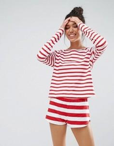 Красная полосатая пижама с лонгсливом и шортами из 100% хлопка ASOS - Мульти