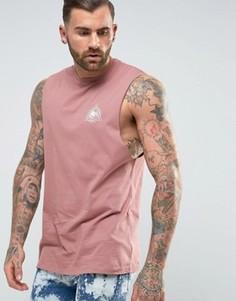 Удлиненная футболка без рукавов с глубокими проймами и принтом ASOS - Розовый