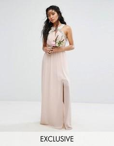Платье макси с запахом и отделкой TFNC WEDDING - Розовый