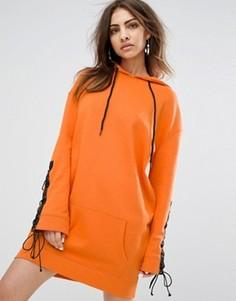 Oversize-платье с капюшоном и шнуровкой на рукавах Daisy Street - Оранжевый