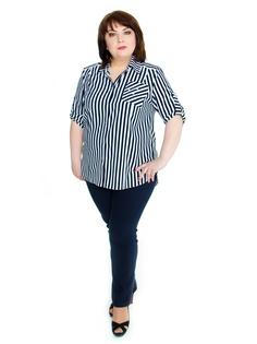 8e40b8742a5 Купить женские блузки и рубашки больших размеров в полоску в ...