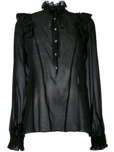 sheer ruffle neck blouse John Richmond