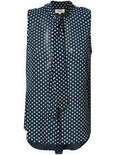 dot print tied collar blouse Lagence