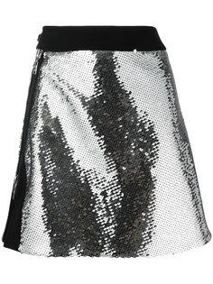 расшитая пайетками юбка Mugler