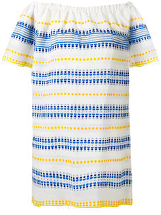 полосатое платье с открытыми плечами Lemlem
