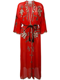 прозрачное пальто-халат с вышивкой Jucca