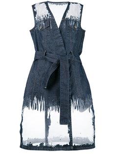 джинсовое платье с прозрачными панелями Diesel
