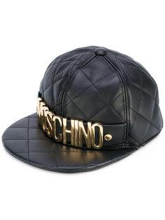 стеганая кепка с бляшкой с логотипом Moschino