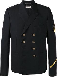 двубортный пиджак милитари Saint Laurent