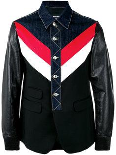 джинсовая куртка с кожаными рукавами Dsquared2