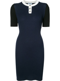 платье ребристой вязки с короткими рукавами Courrèges